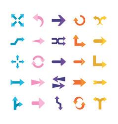 Arrows flat style symbols set design vector