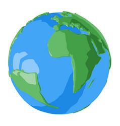 Atlantic ocean on simple glossy 3d globe vector