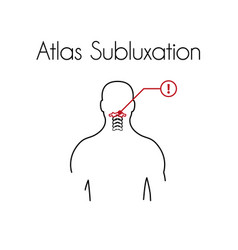 Atlas subluxation linear icon young man vector