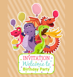 Baby dragons poster invitation card vector