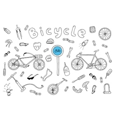 Bicycle collection in doodle style vector