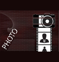black camera and film with icons on a brick wall vector image