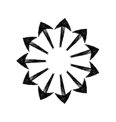 Black grungy arrows located in a circle like rays vector
