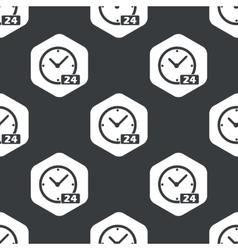 Black hexagon clock 24 pattern vector