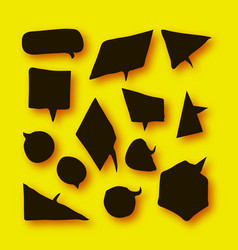 black speech bubbles collection in paper cut style vector image