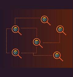 Blockchain komodo symbol with magnifying vector