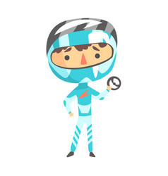Boy in racer uniform holding a wheel vector