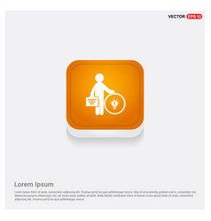 Businessman with idea icon orange abstract web vector
