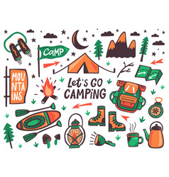 camping outdoor elements summer camp hiking vector image