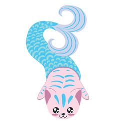 Cartoon mermaid cat vector