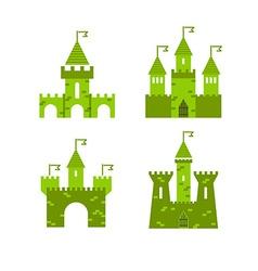 Castle set Castle tower logo Castle turret with vector