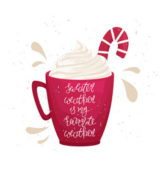 Christmas red mug with lettering vector