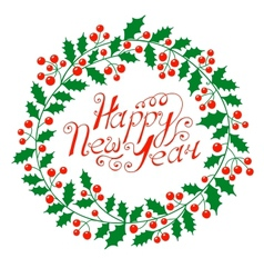 Christmas wreath with wish a happy new year vector