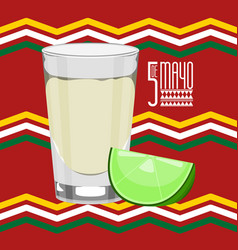 cinco de mayo poster with a glass and lemon vector image
