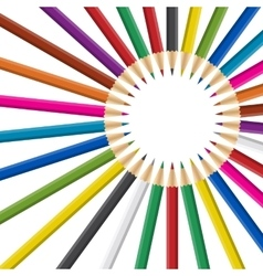 Circle of rainbow colored pencils on white vector image