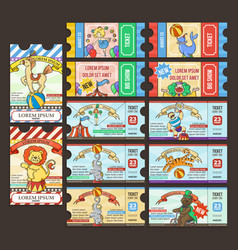 circus ticket pass doodle cartoon vector image