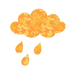 Cloud with raindrops and with floral ornaments vector