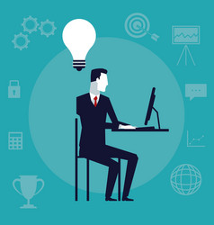 color background with executive man sitting in vector image