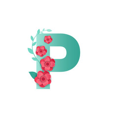 color letter p with beautiful flowers vector image