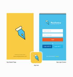 company pen nib splash screen and login page vector image
