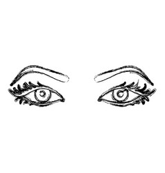 Contour silhouette woman with eyes open icon vector