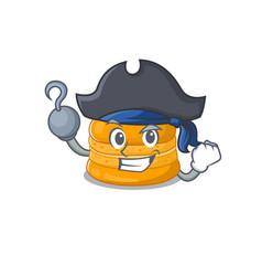 Cool orange macaron in one hand pirate cartoon vector