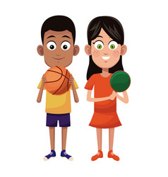 Couple children sport basketball and ping pong vector