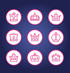 crowns line round icons vector image