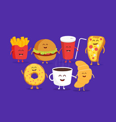 Cute fast food burger soda french fries and pizza vector