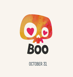 cute watercolor cartoon skull boo happy halloween vector image
