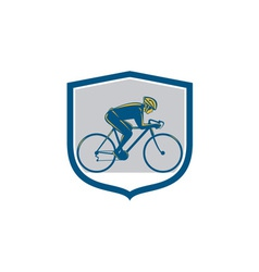 Cyclist Riding Mountain Bike Shield Retro vector image