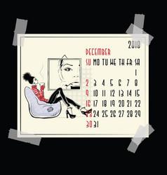 December american and canadian calendar vector