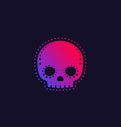 decorated skull with trendy gradient vector image
