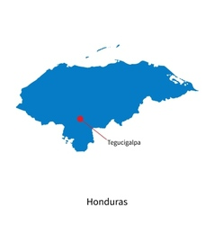 Detailed map of Honduras and capital city vector image
