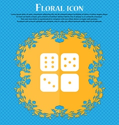 Dices icon sign Floral flat design on a blue vector image