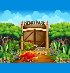Different dinosaurs in dino park vector