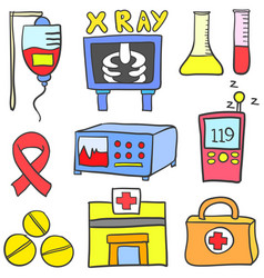 Doodle of medical element various vector