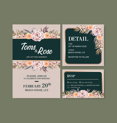 Dried floral wedding card design with marigold vector