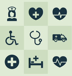drug icons set collection of review disabled vector image