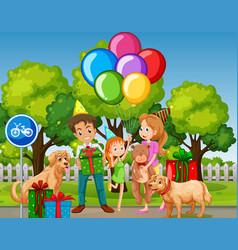 Family celebrate birthday at park vector