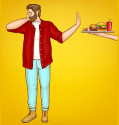 Fatty man rejecting fast food cartoon vector