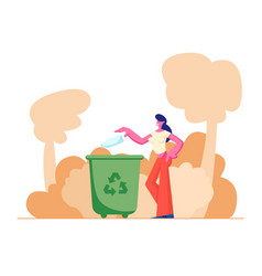 Female character throwing trash into litter bin vector