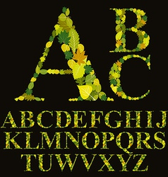 Floral font made with leaves natural alphabet vector