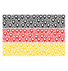 German flag mosaic of map marker icons vector