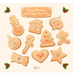 Gingerbread cookies on white background Snowflake vector