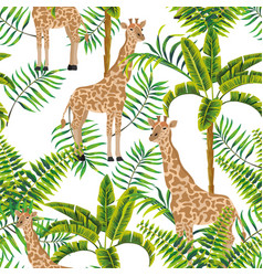 giraffe palm trees tropical pattern white vector image