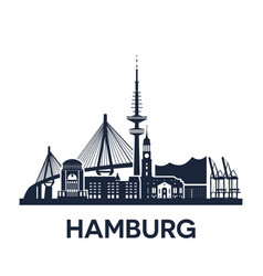 hamburg city skyline germany extended version vector image