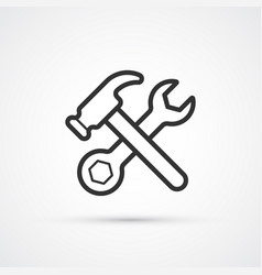 hammer and wrench line flat icon eps10 vector image