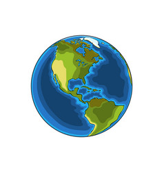 hand drawn sketch of the planet earth in color vector image