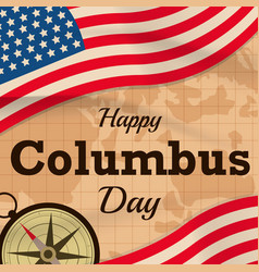Happy columbus day with usa flag on map vector
